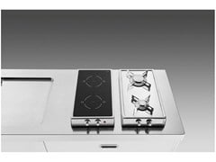 Piano cottura a gas a induzione da appoggio in acciaio inoxPiano cottura ribaltabile gas/induzione - ALPES-INOX