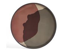 Vassoio rotondo in legno e vetroPINOT COMBINED DOTS - ROUND XL - ETHNICRAFT