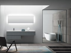 Mobile lavabo con top in Solid Surface e lavabo integratoPLANO - COMPOSIZIONE 10 - ALPEMADRE