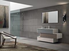 Mobile lavabo singolo sospeso con top in KerlitePLANO - COMPOSIZIONE 11 - ALPEMADRE