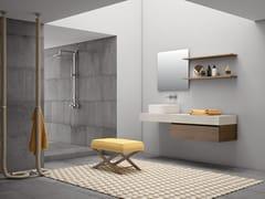 Mobile lavabo singolo sospeso in melamina con lavabo integratoPLANO - COMPOSIZIONE 12 - ALPEMADRE