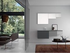 Mobile lavabo singolo sospeso con top in TecnorilPLANO - COMPOSIZIONE 13 - ALPEMADRE