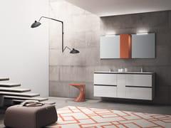 Mobile lavabo doppio sospeso con top di MineralmarmoPLANO - COMPOSIZIONE 14 - ALPEMADRE