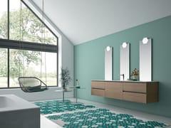 Mobile lavabo doppio sospeso con top e lavabo in KerlitePLANO - COMPOSIZIONE 15 - ALPEMADRE