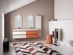 Mobile lavabo doppio a cassetti con top di quarzo resinaPLANO - COMPOSIZIONE 19 - ALPEMADRE