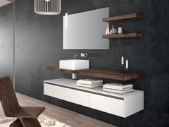 Mobile bagno in noce americano con lavabo in ceramicaPLANO - COMPOSIZIONE 2 - ALPEMADRE