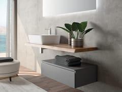 Mobile lavabo singolo sospeso in rovere con lavabo integratoPLANO - COMPOSIZIONE 3 - ALPEMADRE
