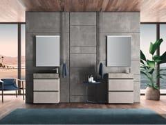 Mobile lavabo doppio sospeso in melamina con lavabo integratoPLANO - COMPOSIZIONE 4 - ALPEMADRE