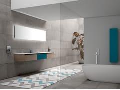 Mobile lavabo doppio in melaminico con top in Solid SurfacePLANO - COMPOSIZIONE 5 - ALPEMADRE