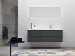 Mobile lavabo singolo in melaminico con top in MineralmarmoPLANO - COMPOSIZIONE 6 - ALPEMADRE