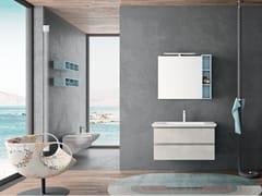 Mobile lavabo singolo sospeso in melamina con specchioPLANO - COMPOSIZIONE 9 - ALPEMADRE