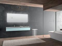 Mobile lavabo singolo in StoneTec con specchioPLANO - COMPOSIZIONE 7 - ALPEMADRE