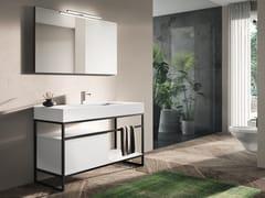 Consolle lavabo singolo in alluminio con specchioPLANO STEEL 7 - ALPEMADRE