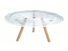 Tavolino rotondo con base rovere e piano in Altuglas®PLEXIWOOD | Tavolino basso - ROCHE BOBOIS