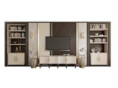 Parete attrezzata in legno con porta tv su misuraPR.860.1 - STELLA DEL MOBILE