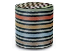 Pouf cilindro in rafia a righe barrè PRESCOTT | Pouf rotondo - Master Moderno