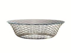 Tavolino rotondo in acciaio e cristalloTESO - MOLTENI & C.