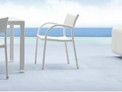 Sedia da giardino impilabile in acciaio inox con braccioli PAPAYA | Sedia da giardino con braccioli - Papaya