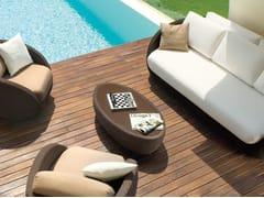 Tavolino da giardino basso ovale in alluminio e vetro SAINT TROPEZ | Tavolino da giardino ovale - Saint Tropez