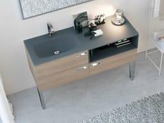 Mobile lavabo laccato in rovere con cassetti COMP MFE12 | Mobile lavabo da terra - My Fly Evo