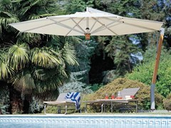 Ombrellone in teak con palo laterale CAPRI TEAK SILVER - Pensili