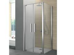 Box doccia con lato saloon e un lato fisso PIVOT - Cristalli