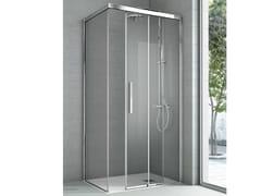 Box doccia angolare con un lato fisso e un lato scorrevole ASTER | Box doccia in cristallo - Cristalli