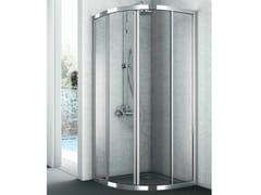 Box doccia angolare curvo con porte scorrevoli EASY - Cristalli