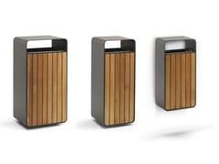 Portarifiuti in legno con portacenere BOX WOOD -