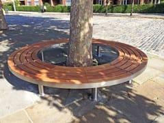 Panchina in acciaio inox e legno TREE FULL   Panchina curva - Tree