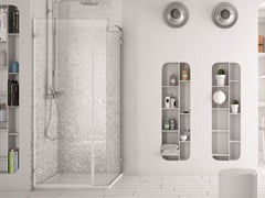 MEGIUS, SOFTGLASS PA2+FA2 Box doccia angolare in vetro con porta a battente