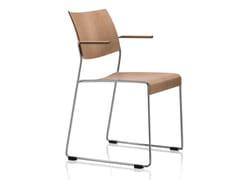 Sedia da conferenza a slitta impilabile con braccioli LINOS | Sedia da conferenza in legno impiallacciato - Linos