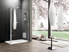 Box doccia angolare in vetro temperato con piatto con porta scorrevole OTTO PREMIUM | Separet - Otto