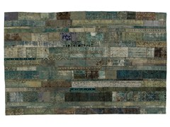Tappeto patchwork vintage ricolorato PATCHWORK RESTYLED AQUA - Carpet Reloaded