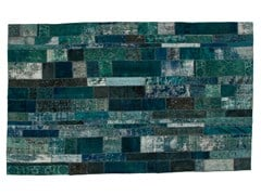 Tappeto patchwork vintage ricolorato PATCHWORK RESTYLED BLUE - Carpet Reloaded