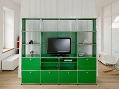 Libreria a giorno componibile in metallo con porta tv USM HALLER MEDIA SHELVING | Libreria con porta tv - USM MODULAR FURNITURE