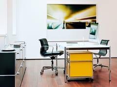 Scrivania rettangolare direzionale in legno impiallacciato USM HALLER INDIVIDUAL WORKSTATION TABLE | Scrivania ad altezza regolabile - USM Haller Table