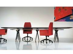 Tavolo ovale in legno e vetro SC1013/A   Tavolo da riunione - Percorsi