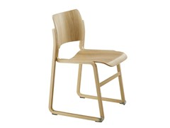 Sedia a slitta impilabile in legno40/4 | Sedia in legno - HOWE