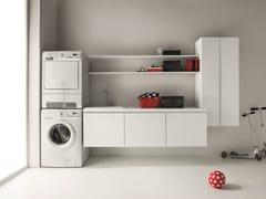 Mobile lavanderia laccato in nobilitato con lavatoio IDROBOX | Mobile lavanderia sospeso - Idrobox