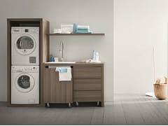 Mobile lavanderia in olmo con lavatoio per lavatrice IDROBOX | Mobile lavanderia in olmo - Idrobox