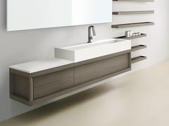 Mobile lavabo sospeso in frassino VASCA LUNGA | Mobile lavabo sospeso - Visone