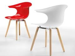 Sedia in plastica con gambe in legno LOOP | Sedia in plastica - Loop