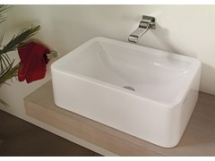 Lavabo da appoggio rettangolare in ceramica in stile moderno con troppopieno NILE 62 H20 | Lavabo da appoggio - Nile