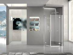 Box doccia angolare in cristallo con porta a battente PURA 5000 NEW | Box doccia angolare - Aura – senza profili