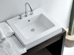 Lavabo da incasso soprapiano quadrato in ceramica con troppopieno ACQUAGRANDE 60 | Lavabo da incasso soprapiano - Acquagrande