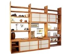 Libreria autoportante laccata in legno HARU A -
