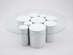 Tavolino basso rotondo in cristallo POINTILLISME | Tavolino rotondo -