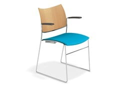 Sedia da conferenza a slitta con braccioli CURVY | Sedia con braccioli - Curvy