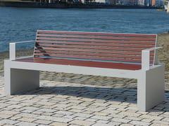 Panchina in acciaio inox e PET con schienale COMFONY 40 | Panchina con braccioli - Comfony